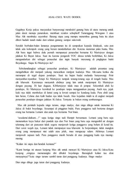 Cerita rakyat watu dodol