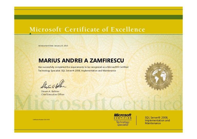 Elegant SlideShare  Microsoft Certificate Of Excellence