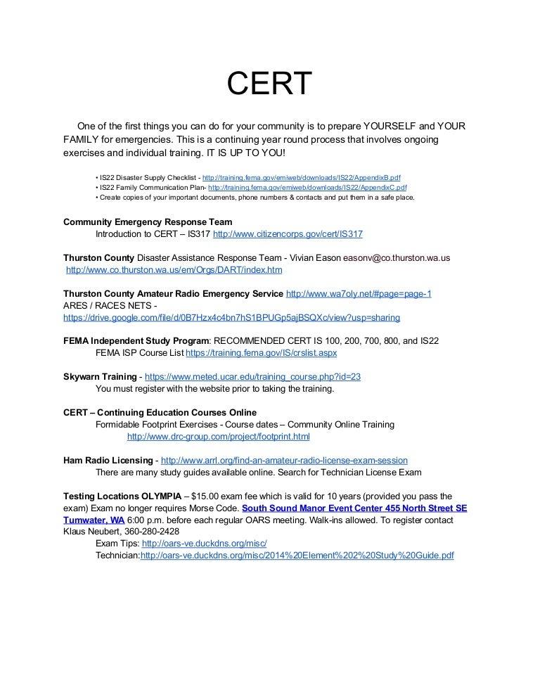 Thurston Pierce CERT And Hamradio Courses