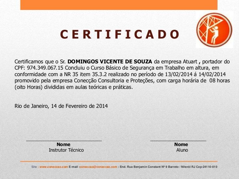 Certificado De Domingos Nr 35