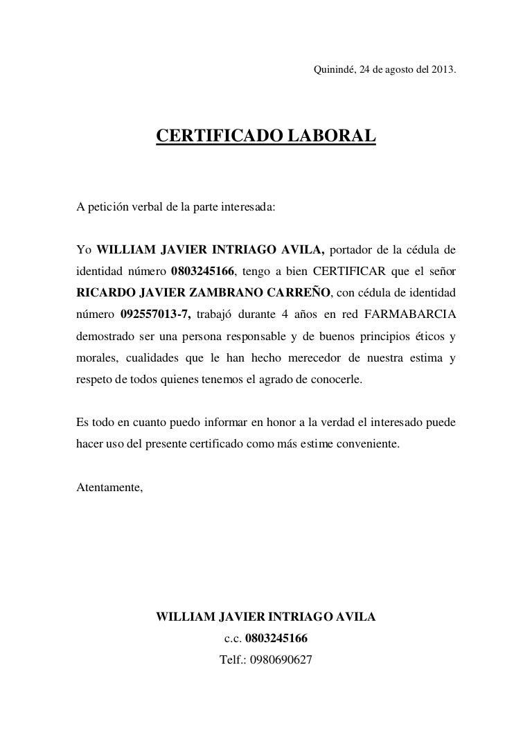 Certificado De Laboral
