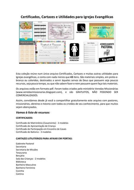 Certificados, cartazes e utilidades para igrejas evangélicas