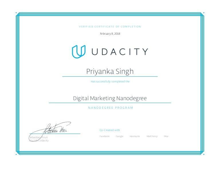 certificate marketing digital program nanodegree slideshare upcoming
