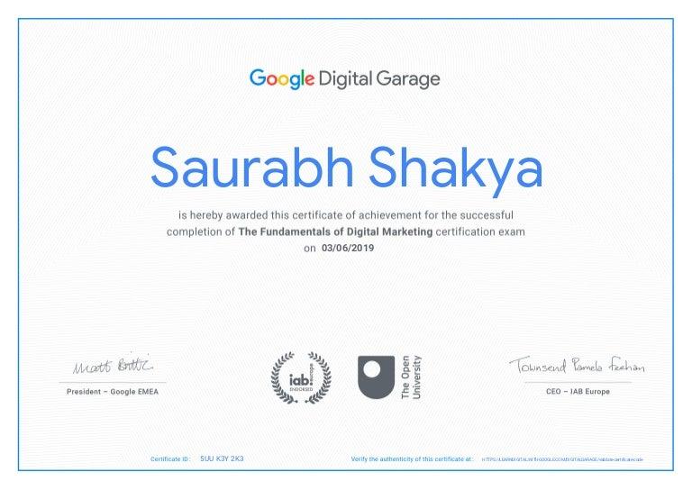 marketing fundamentals certificate certification skills