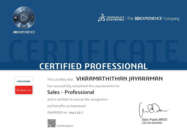 Certified Solidworks Sales Professional