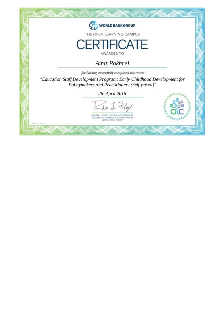 Certificate educating staff development program early childhood devel 1betcityfo Image collections