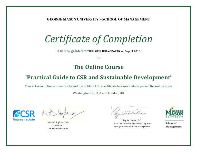 Certificate from gmu and csrfi to thirumeni dhamodaran