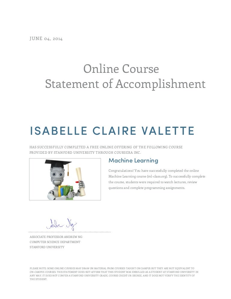Certificate Machine Learning