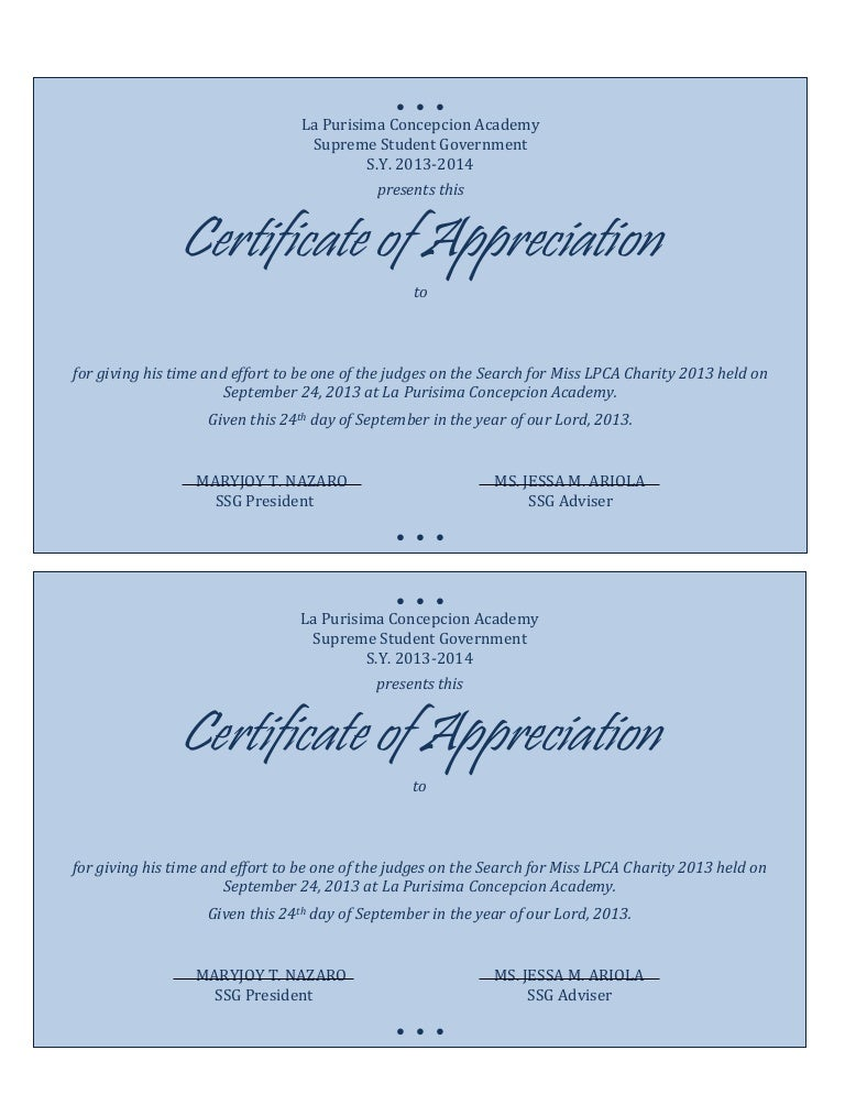 SlideShare  Certificates Of Appreciation Wording Samples