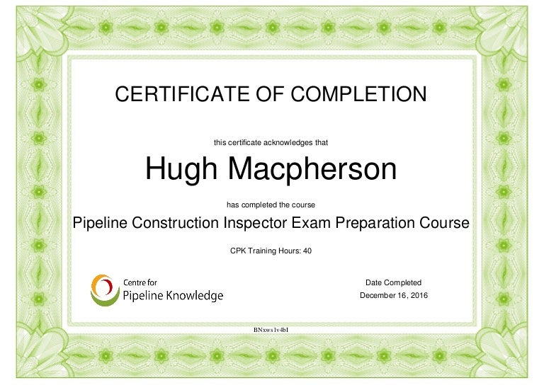 Certificate Of Completion Api 1169