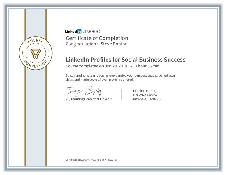Certificate of Completion - Linkedin Profiles for Social Business Suc…