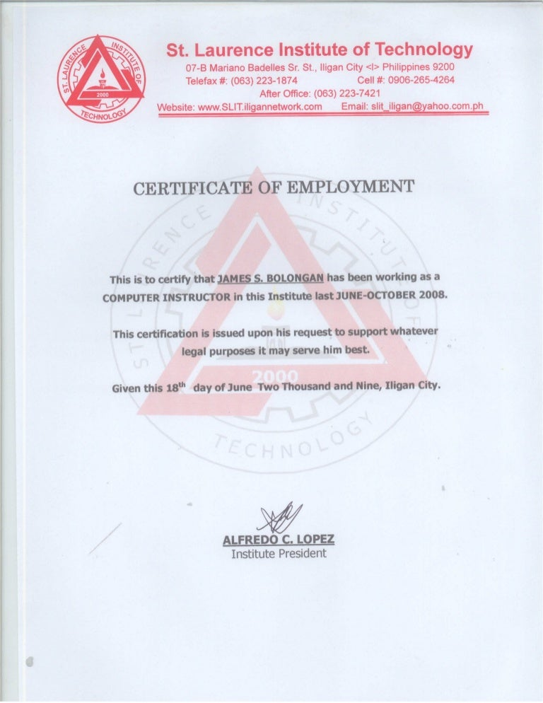 Certificate of employment st laurence institute of technology yelopaper Gallery