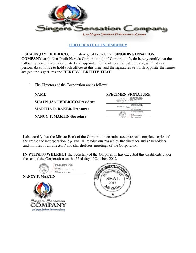 Certificate Of Incumbency Singers Sensation Company