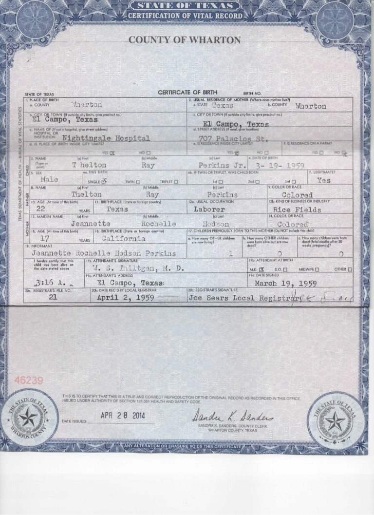 Certificate Of Live Birth Registered Owner Affidavit