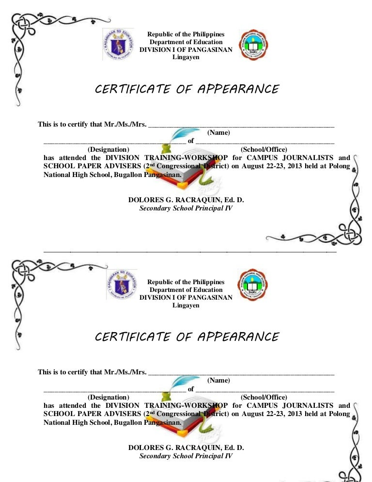 Certificates of appearance to print yadclub Images