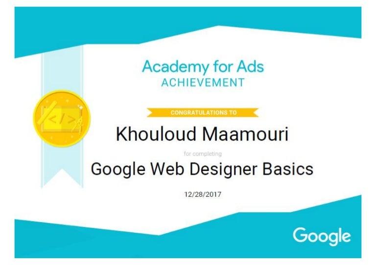 Certification Google Web Designer Basics