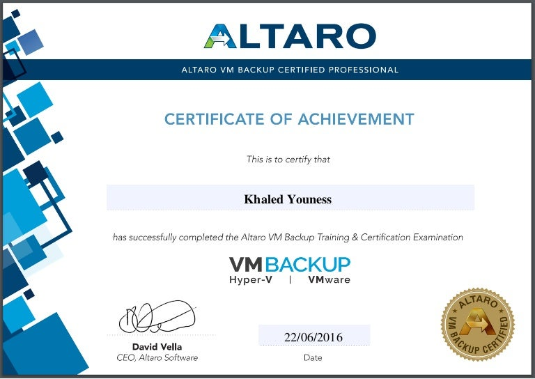 Altaro Partner Certification