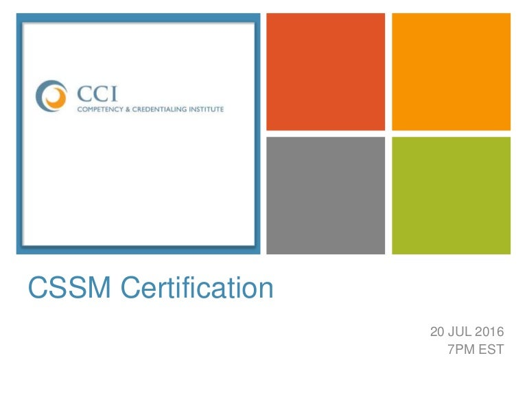 Cssm Certification Competency Credentialing Institute