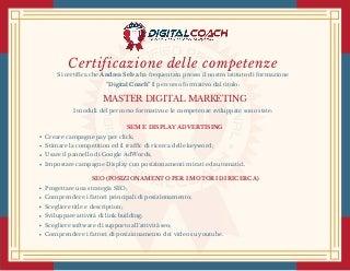 Certificazione delle competenze. Master Digital Marketing. Andrea Selva