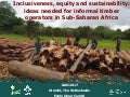 Inclusiveness, equity and sustainability: New ideas needed for informal timber operators in Sub-Saharan Africa