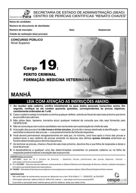Cespe 2007-cpc-renato-chaves-perito-criminal-veterinaria-prova