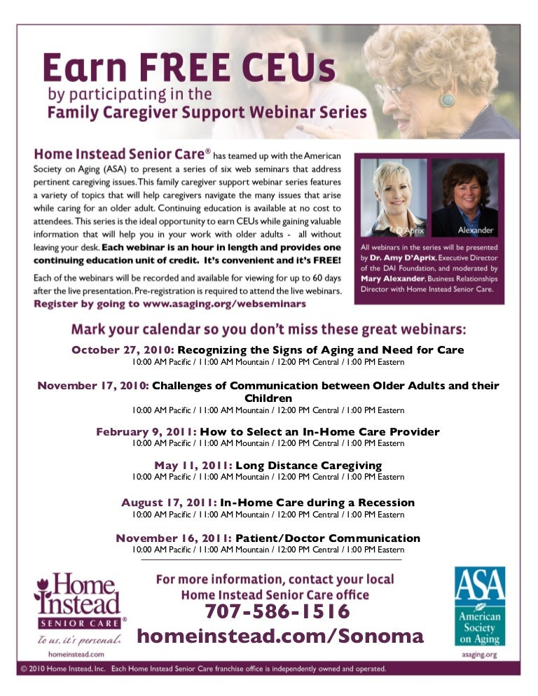 Family Caregiver Support Webinars: Free CEUs