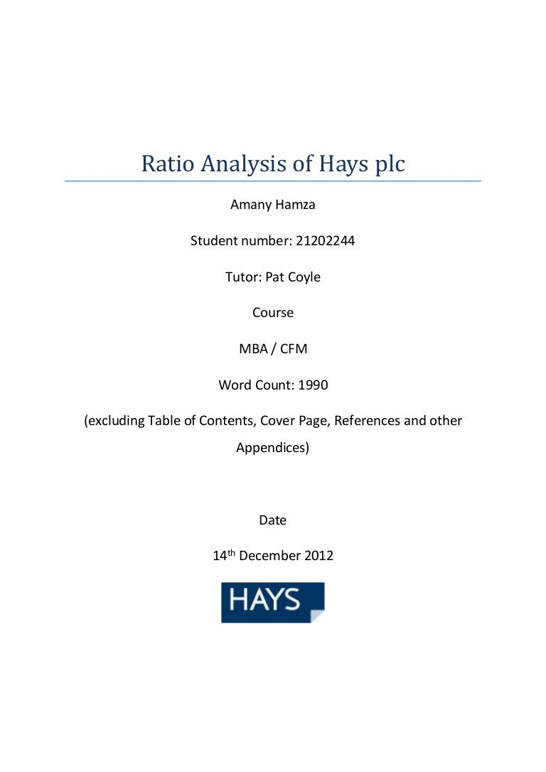 corporate financial management assignment ratio analysis of hays plc