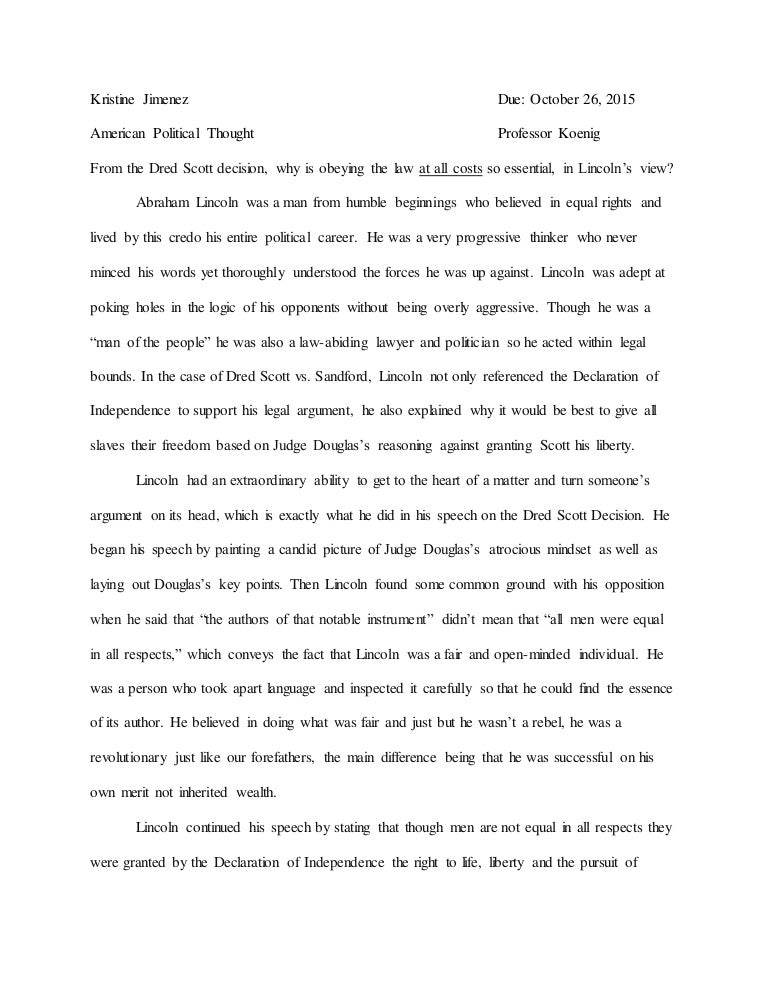 essay on abraham lincoln