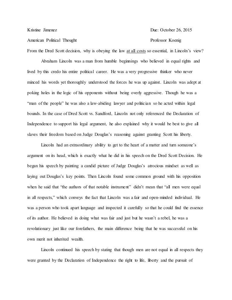 The Infamous Dred Scott Decision Essay