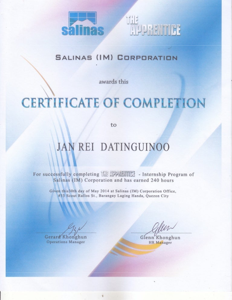 Sample ojt certificate of completion etamemibawa salinas ojt certificate of completion yadclub Gallery