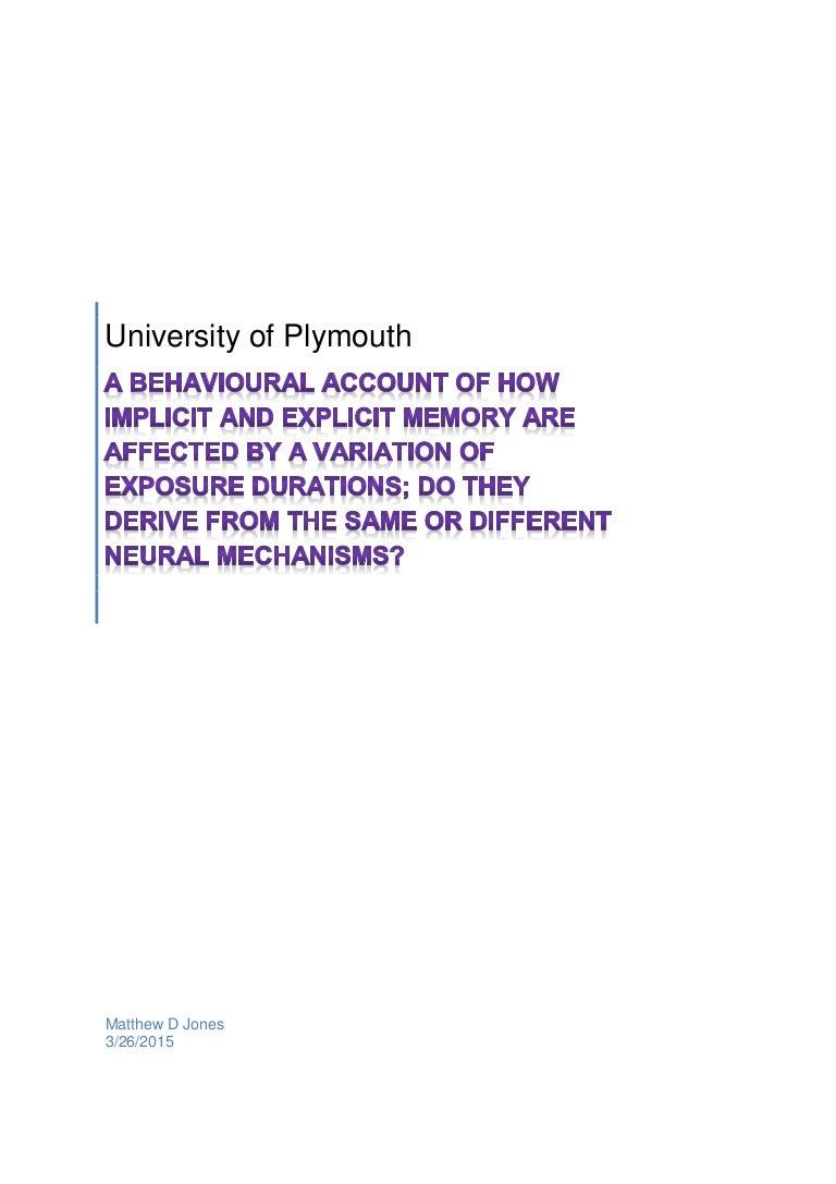 Dissertation Implicit Explicit Memory