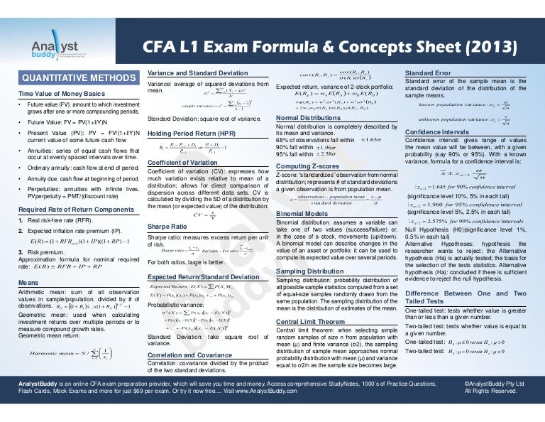 Cfa L1 Exam Formula Concepts Sheet 2013