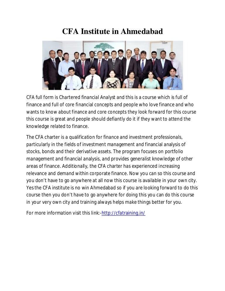 Cfa institute in ahmedabad