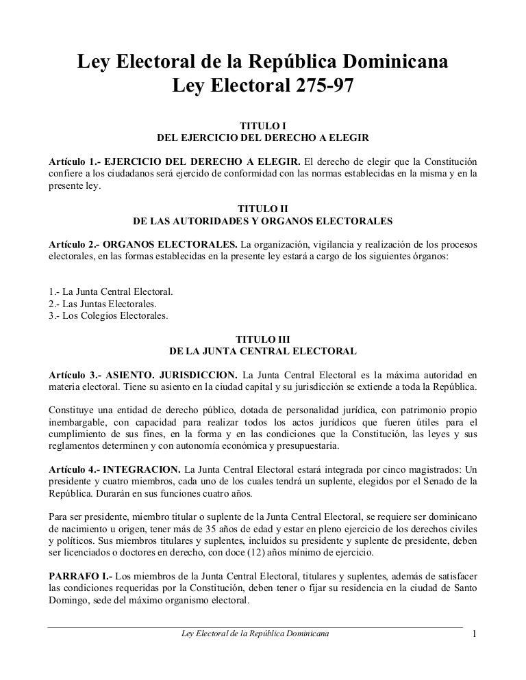 Ley Electoral 275-97