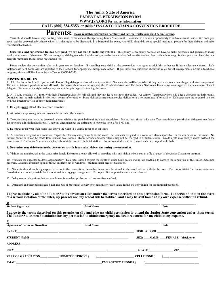 field trip permission slip template high school