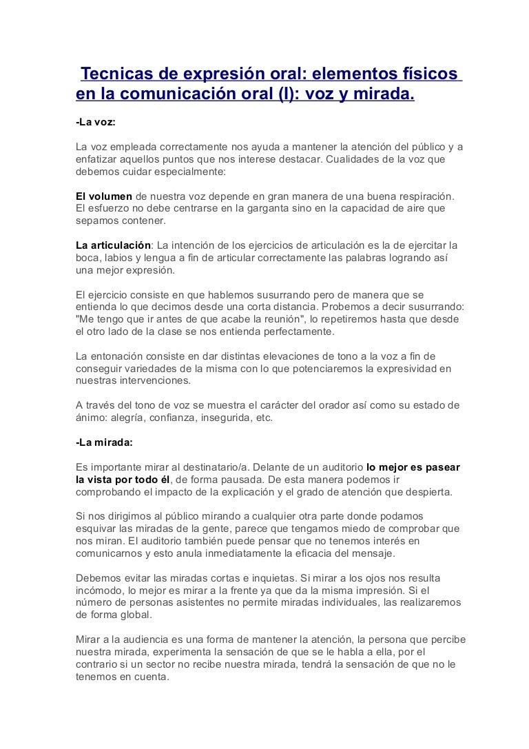 TÉCNICAS DE EXPRESIÓN ORAL