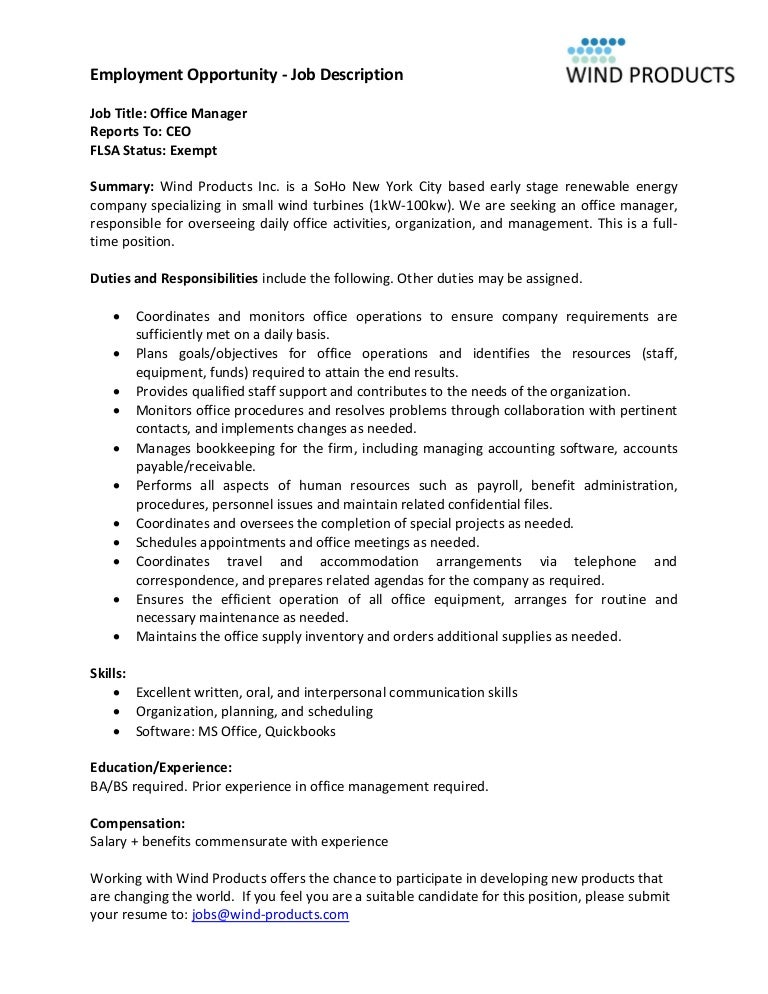 CFakepathWind Products Office Manager Job Description