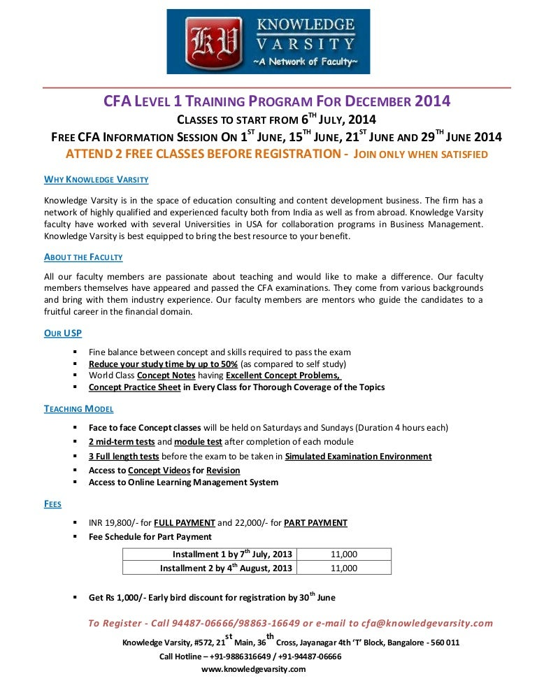 CFA Level 1 Training and Coaching in Bangalore For December 2014 Exam
