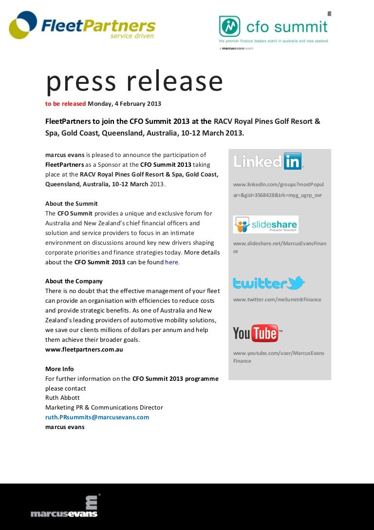 FleetPartners to join the CFO Summit 2013 at the RACV Royal
