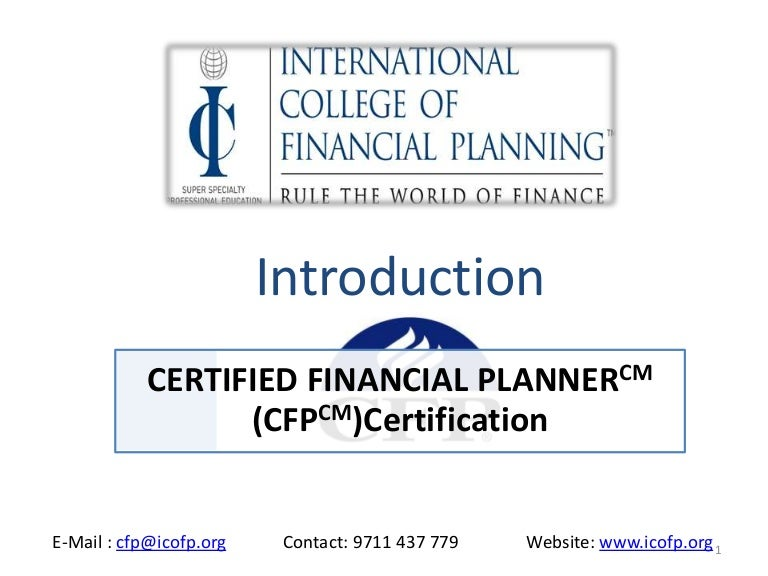 Certified Financial Planner Cfp Certification Course