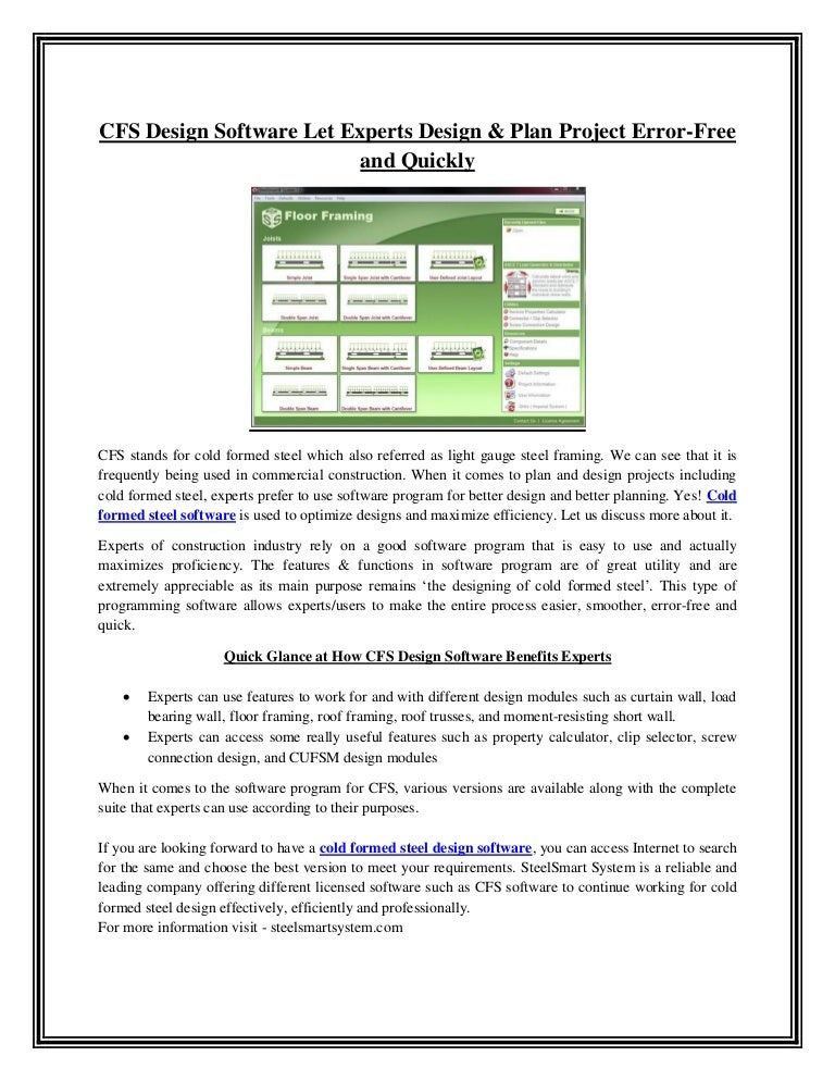 Cfs Design Software Let Experts Design Plan Project Error Free And