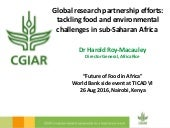 Global research partnership efforts: tackling food and environmental challenges in sub-Saharan Africa