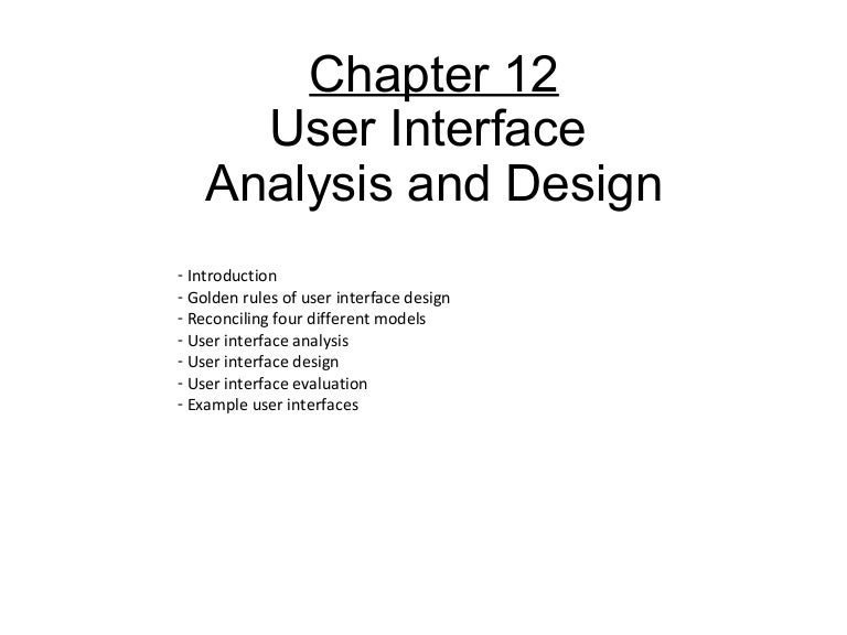 Chapter 12 User Interface Design
