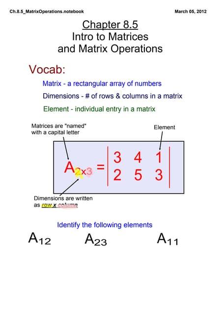 Ch.8.5 Matrix Operations