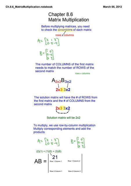 Ch.8.6 Matrix Multiplication