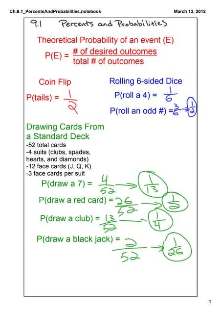 Intermediate Algebra: Ch.9.1 Percents and Probabilities