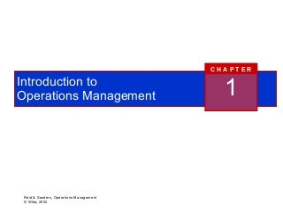 Production and Operations Management- Chapters 1-8