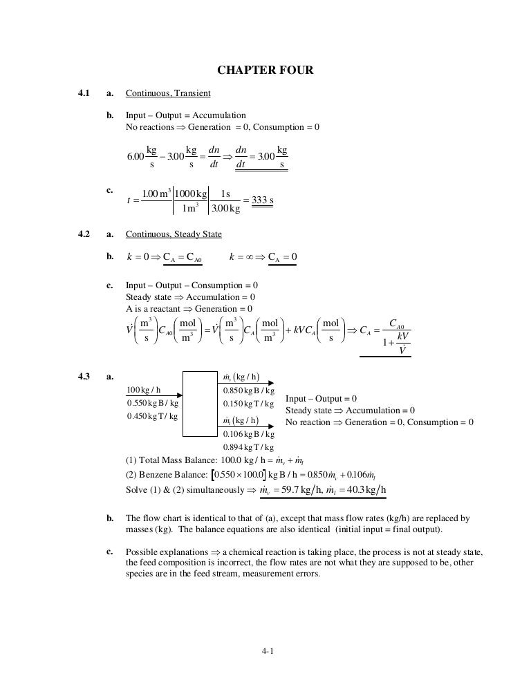elementary principles of chemical processes solution