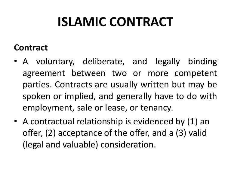 Islamic Contracts – Contract Examples Between Two Parties