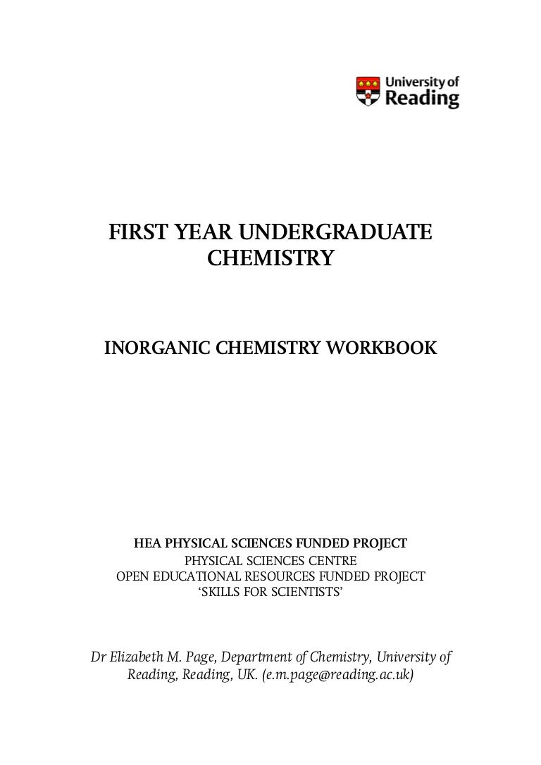 Workbooks physical science guided reading and study workbook : First Year Undergraduate Inorganic Chemistry Workbook